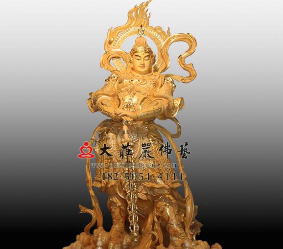 彩绘韦驮菩萨铜雕佛像