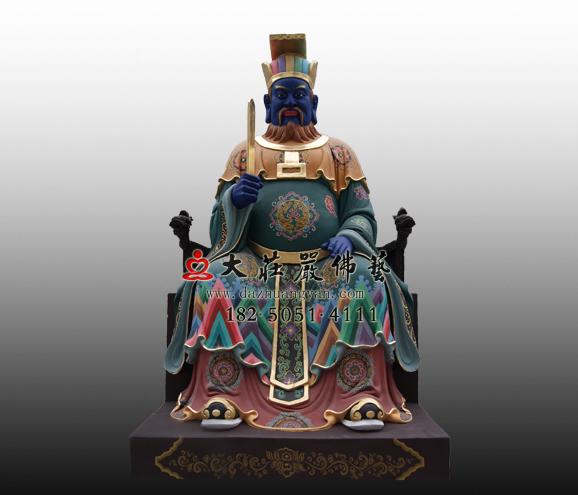 十殿阎王之三殿宋帝王彩绘铜雕塑像