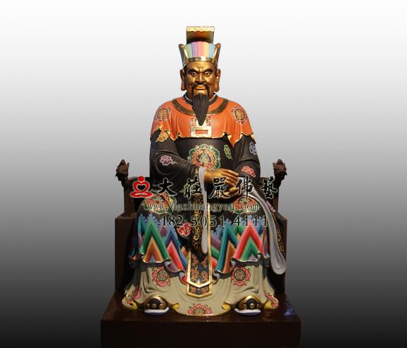 十殿阎王之五殿阎罗王彩绘铜雕塑像