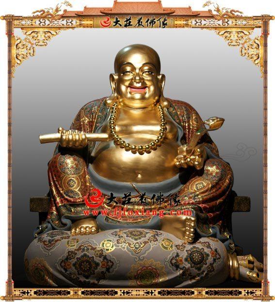 铜雕贴金弥勒佛像