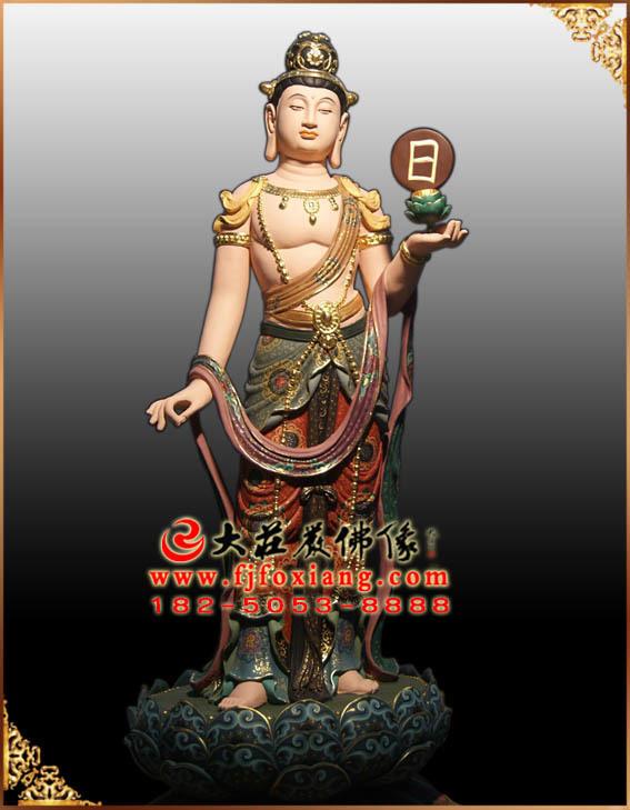 彩绘描金日光菩萨塑像