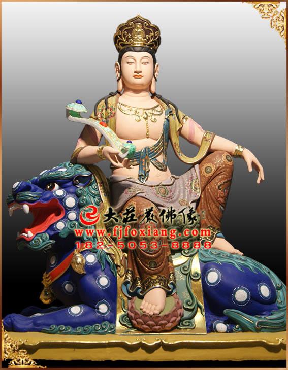彩绘描金文殊菩萨骑青狮塑像