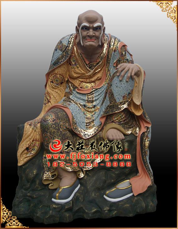 彩绘描金阿氏多尊者塑像