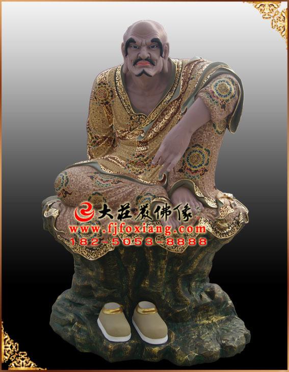 彩绘描金罗怙罗尊者塑像