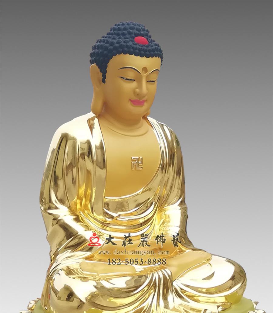 铜雕五方佛之阿弥陀佛侧面近照