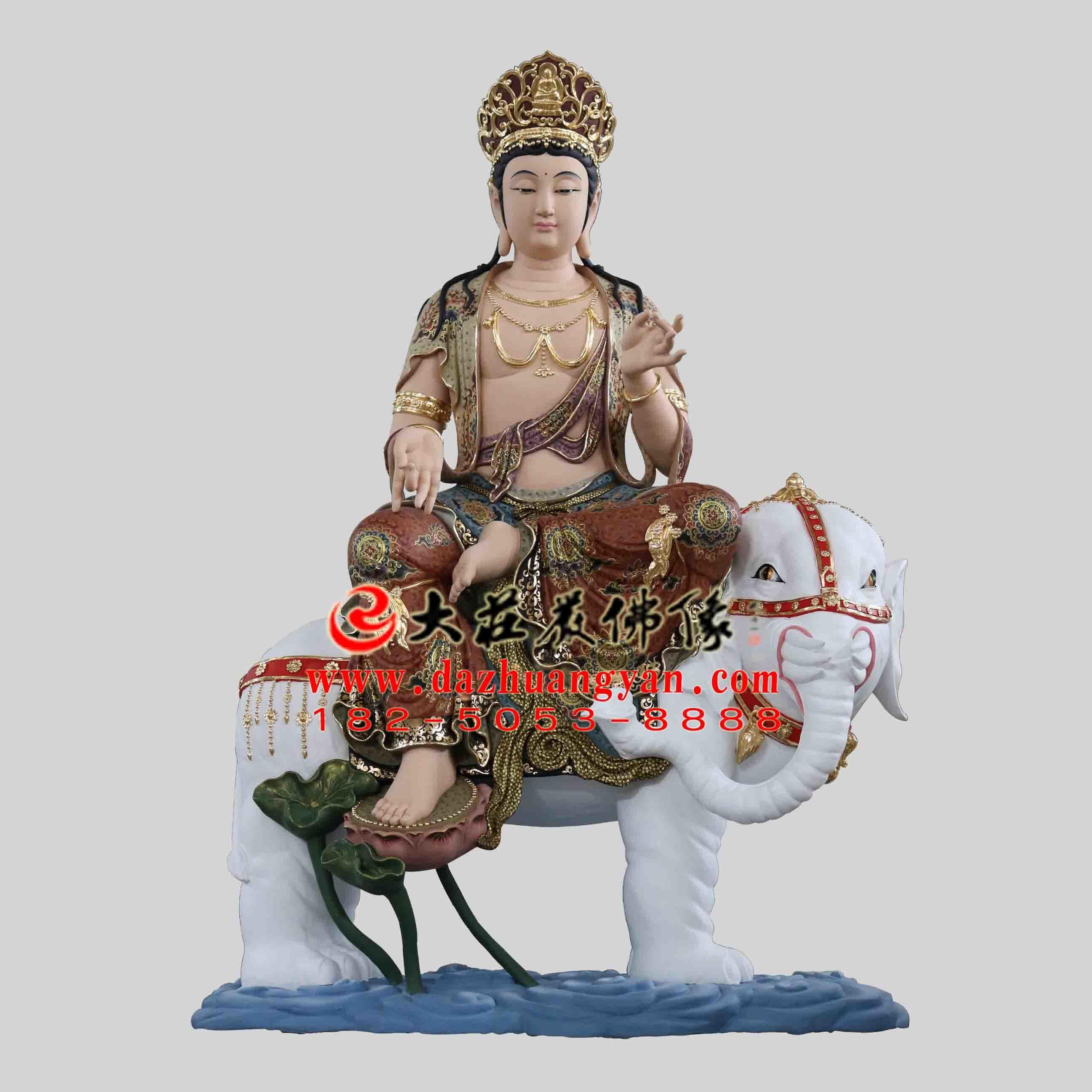 华严三圣之普贤菩萨铜雕彩绘