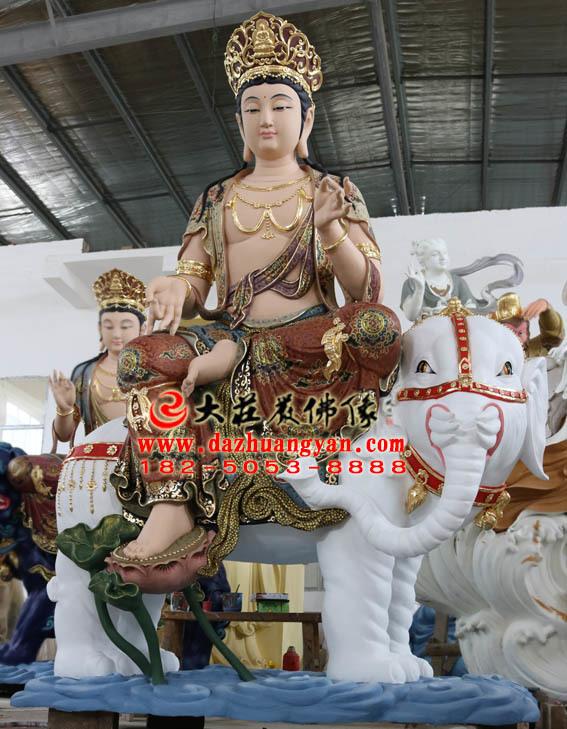 生漆脱胎华严三圣之普贤菩萨彩绘塑像侧面照