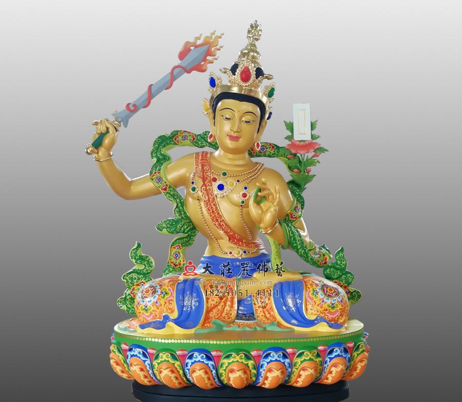 铜雕彩绘文殊菩萨