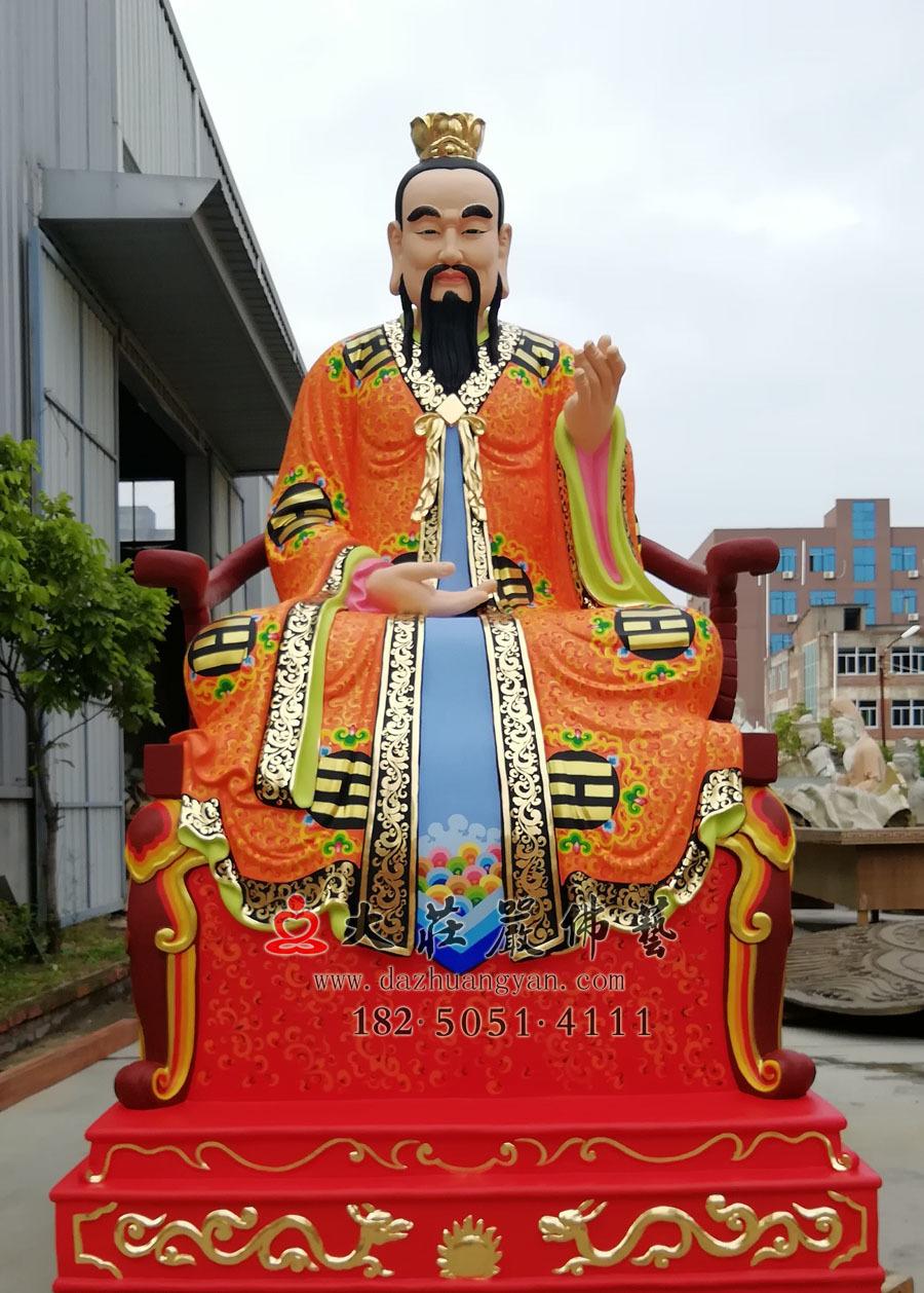 铜雕三清之灵宝天尊彩绘神像