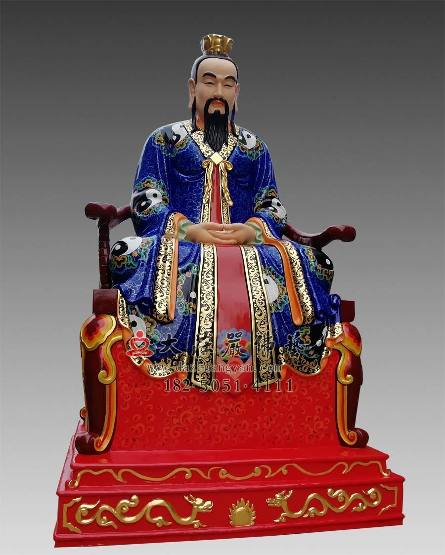 铜雕三清之元始天尊彩绘塑像