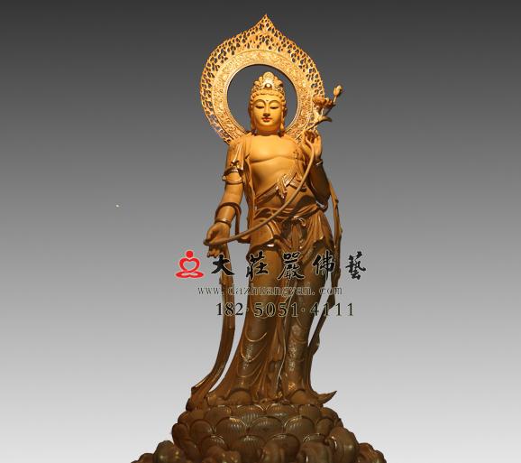 弥勒佛右胁待菩萨彩绘铜雕塑像