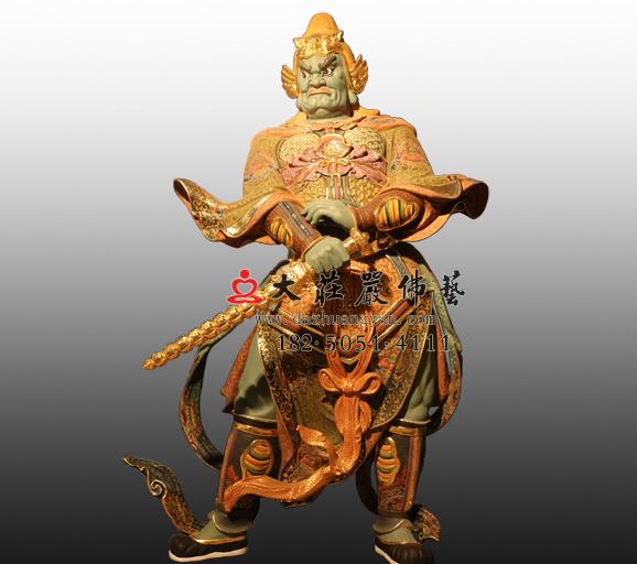 东方持国天王八大神将之富单那彩绘铜雕塑像