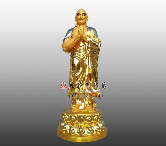 迦叶尊者铜雕贴金佛像